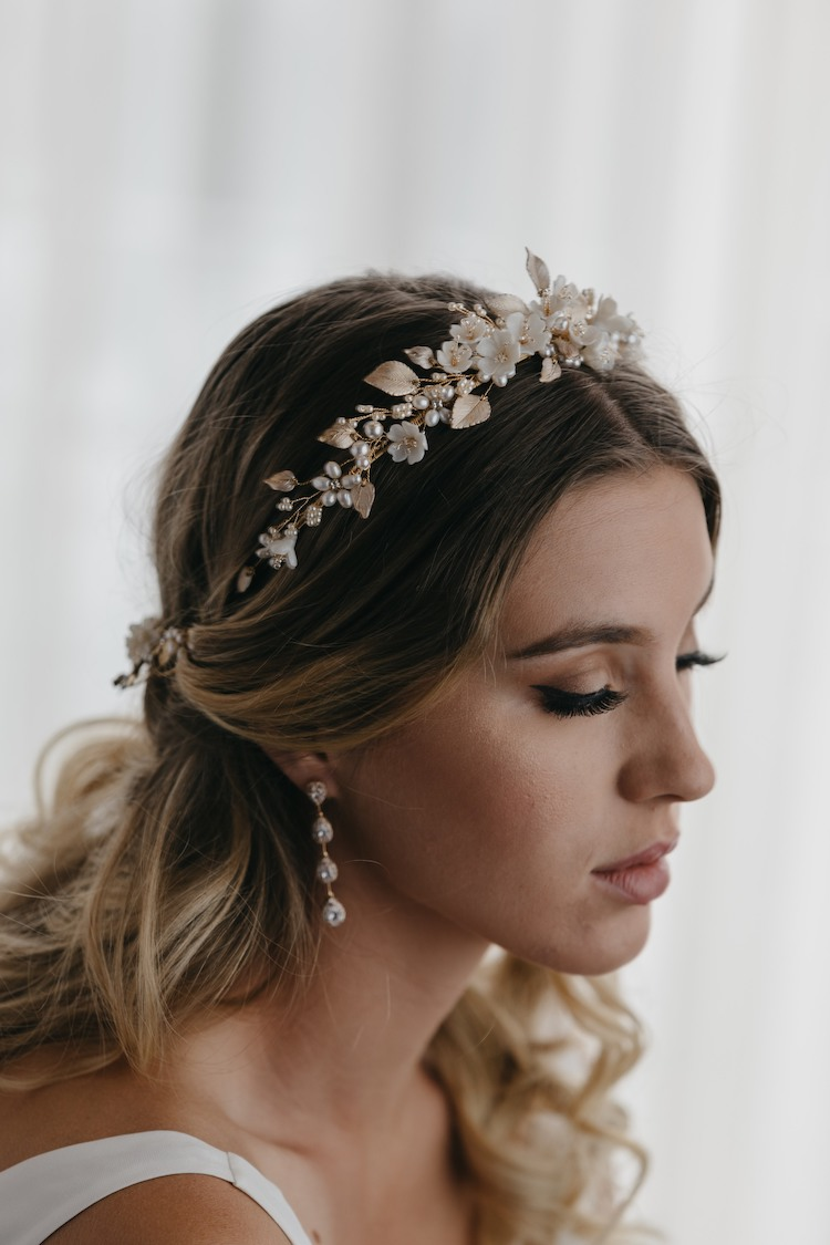 Wedding headband with hair half up half down