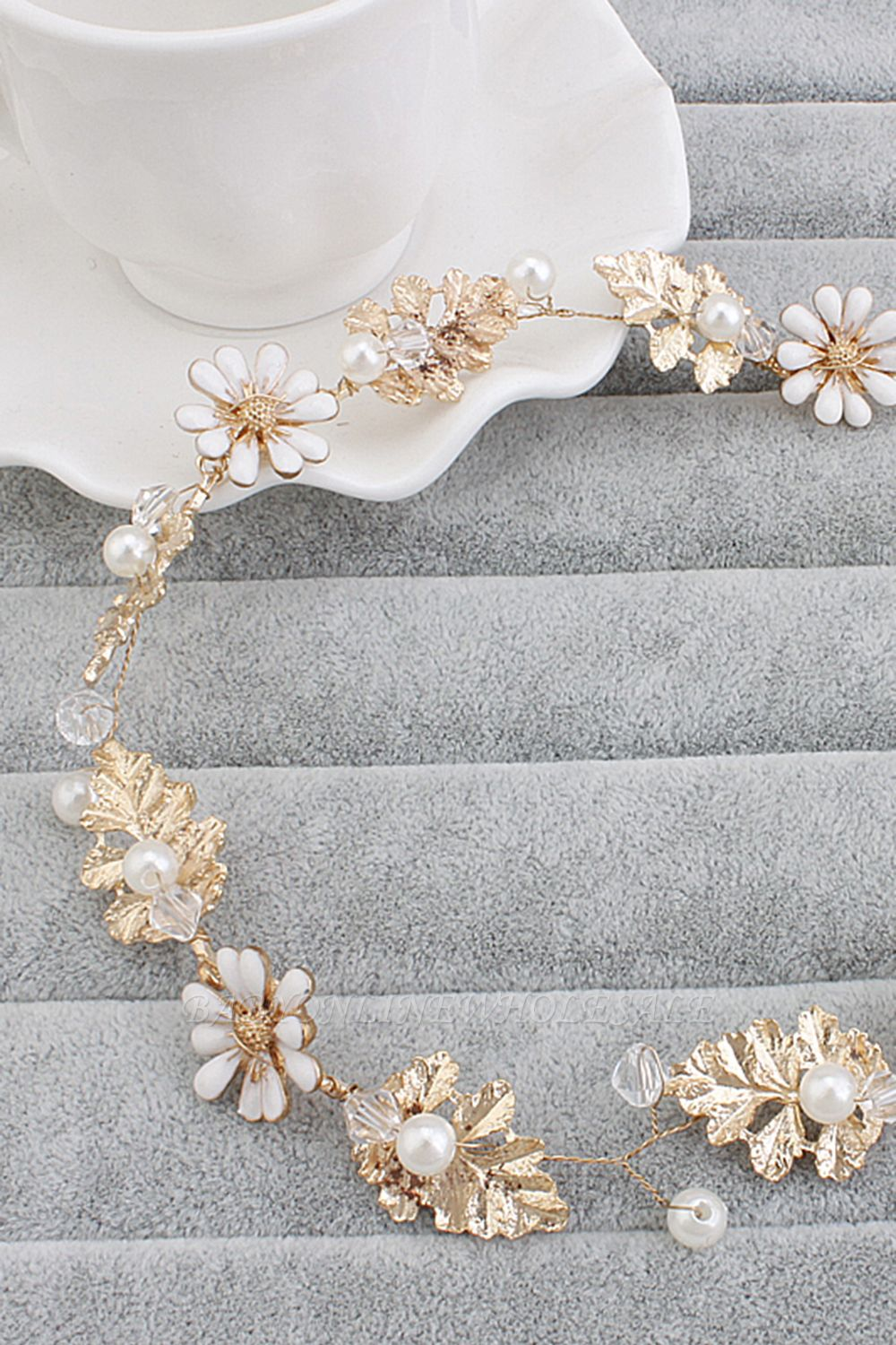 Wedding headband with white flowers
