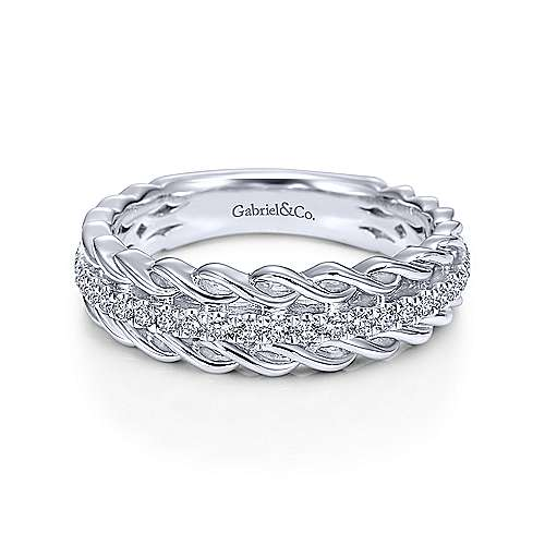 White gold wide twisted ring