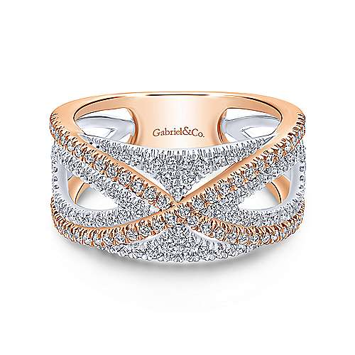Wide white and rose gold wedding ring