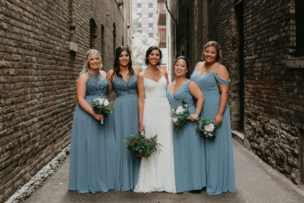 One color different style bridesmaid dresses