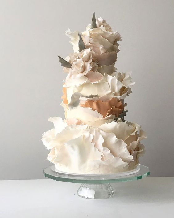Torn paper effect wedding cake