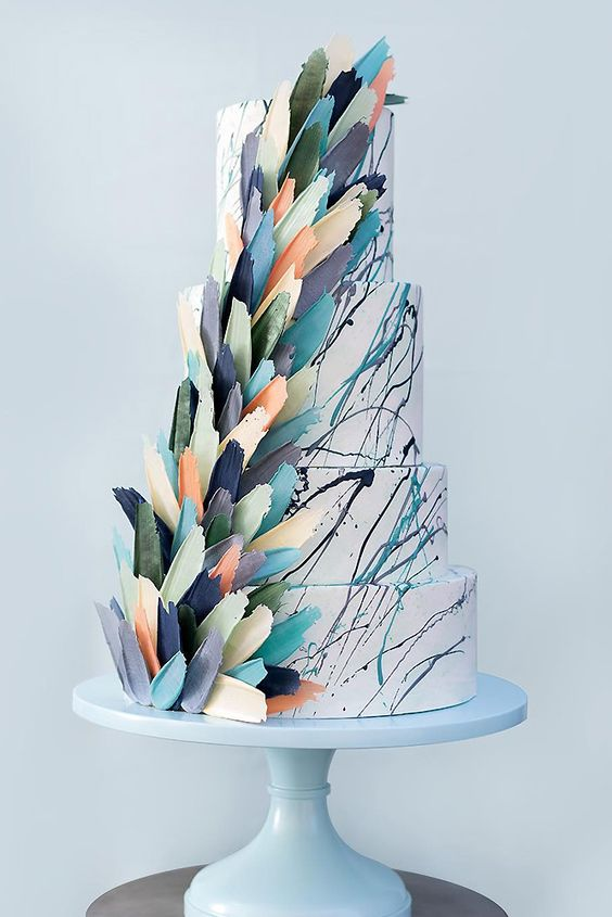 Wedding cake with petals